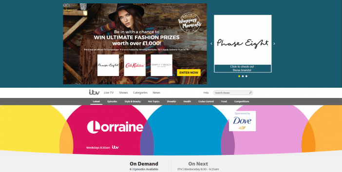 Lorraine homepage screen shot - Phase Eight