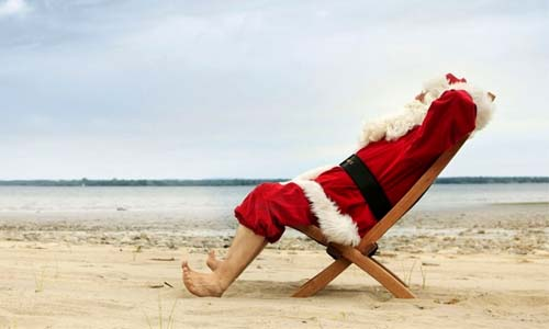 Santa on a beach