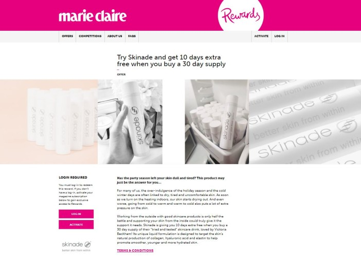 Offer page - Marie Claire Rewards