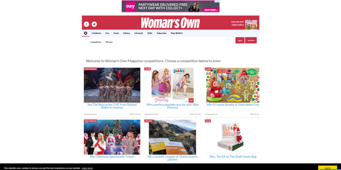 Womans Own Magazine Competitions WIN Homepage
